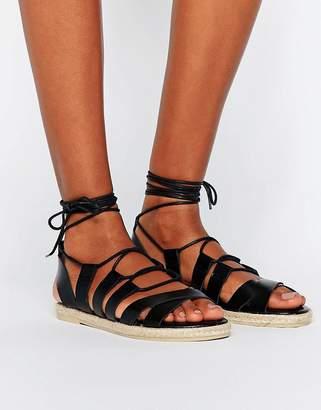 Pieces Louisa Leather Espadrile Sandals