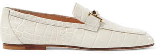 Tod's Embellished Croc-effect Leather Loafers - Off-white
