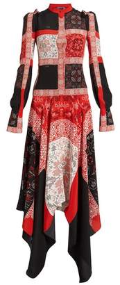 Alexander McQueen Cross Stitch Print Silk Dress - Womens - Black Multi