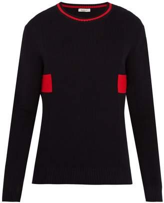 Valentino Crew-neck contrast-knit cotton sweater