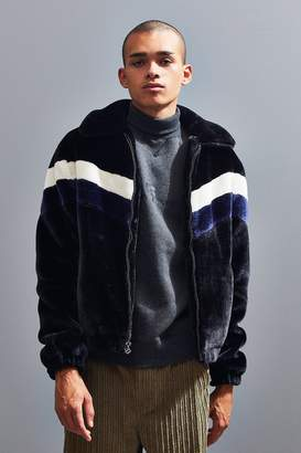 Urban Outfitters Chevron Faux Fur Bomber Jacket