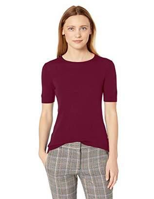 Lark & Ro Amazon Brand Women's Merino Wool Short Sleeve Crew Neck Sweater