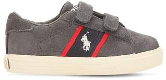 Ralph Lauren Childrenswear Logo Detail Suede Straps Sneakers