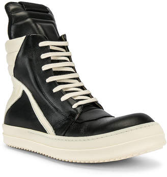 Rick Owens Geobasket Sneakers in Black & Milk | FWRD
