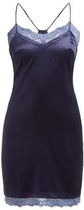 La Perla Embrace Silk Blend Charmeuse Slip - Womens - Blue