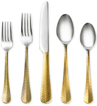 Cambridge Silversmiths Indira by Jessamine Hammered Gold 20-Pc. Flatware Set, Service for 4