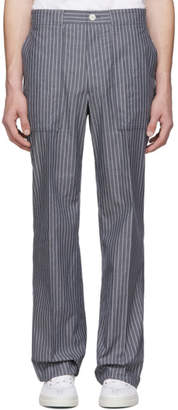Thom Browne Navy Pinstripe Square Cargo Pocket Trousers