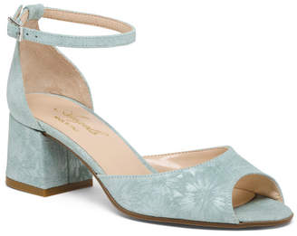 Made In Italy Leather Peep Toe Slingback Sandals