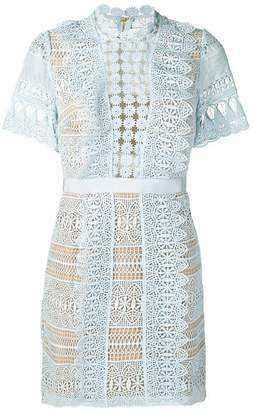 Self-Portrait short lace panel dress
