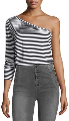 Robert Rodriguez One-Shoulder Long-Sleeve Striped T-Shirt