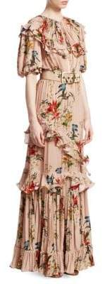 Johanna Ortiz Queen of Sheba Printed Silk Maxi Dress