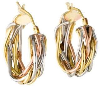 14K Tricolor Braided Hoop Earrings