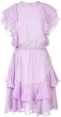 Lela Rose plaid ruffle trim dress