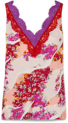 Emilio Pucci Lace-trimmed Floral-print Silk Top - Pink