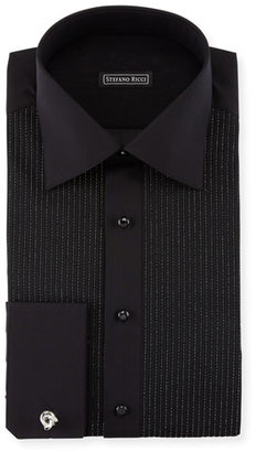 Stefano Ricci Metallic-Pleated Tuxedo Shirt, Black $1,150 thestylecure.com