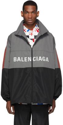Balenciaga Grey Logo Zip-Up Jacket