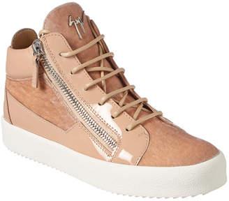 Giuseppe Zanotti Velvet & Patent High-Top Sneaker