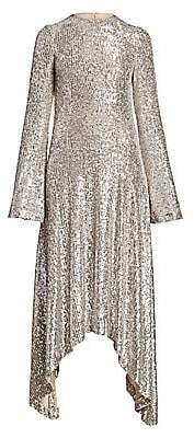 Galvan Women's Modern Love Metallic Sequin Handkerchief A-Line Dress