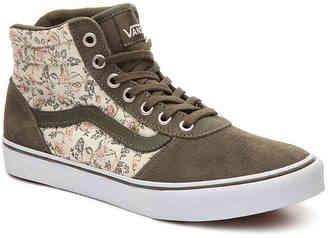Women's Vans Milton Hi Floral High-Top Sneaker -Green/Floral $70 thestylecure.com