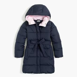 J.Crew Girls' long belted puffer coat