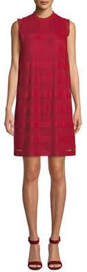Julia Jordan Striped Sleeveless Pleated Chiffon Shift Dress