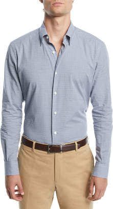 Ermenegildo Zegna Men's Tonal-Check Sport Shirt