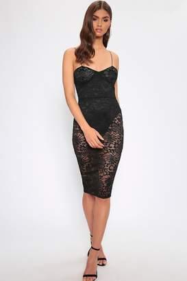 7e0c183ce5f74 I SAW IT FIRST Black Sheer Lace Cami Midi Dress