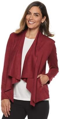 Dana Buchman Women's Faux-Suede Open Front Jacket