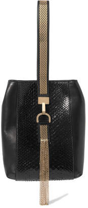 Lanvin - Embellished Python And Leather Wristlet Bag - Black $2,095 thestylecure.com