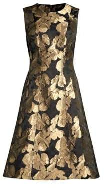 Donna Karan Jacquard Sleeveless A-Line Dress