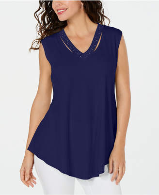 3a2896d7ee JM Collection Embellished Cutout Tank Top