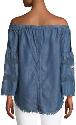 philosophy Embroidered Off-The-Shoulder Chambray Shirt