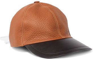 Lace-up Two-tone Leather Baseball Cap - Tan