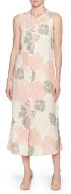 Joan Vass New York Printed Linen Button-Down Midi Dress