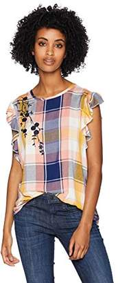 Serene Bohemian Womens Frilled Sleeveless Checks Top with Floral Embroidery on The Shoulder (L)