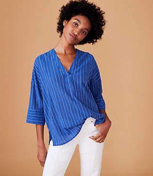 Lou & Grey Striped Double V Shirt