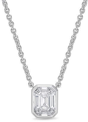 Memoire Emerald-Shaped Diamond Baguette Pendant Necklace