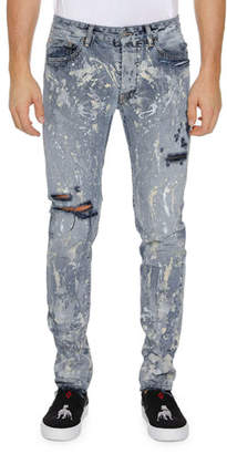 Marcelo Burlon County of Milan Men's Dark Splatter Slim-Fit Distressed Jeans