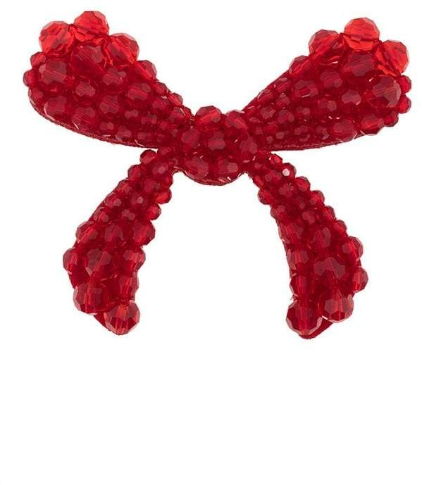 Simone Rocha red crystal embellished velvet bow brooch