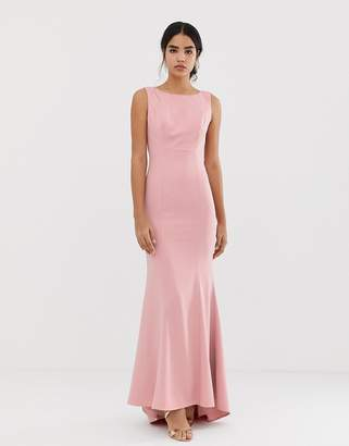 2aba807fe6 Jarlo maxi dress with lace open back and train in pink