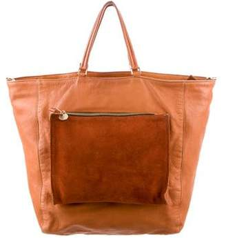 Clare Vivier Suede-Trimmed Leather Satchel