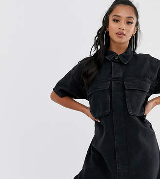 Asos DESIGN Petite denim boxy shirt dress in black