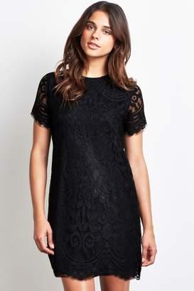 Lipsy Lace Shift Dress - 4 - Black