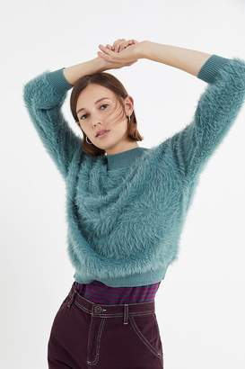 Urban Outfitters Sweet As A Peach Fuzzy Mock-Neck Sweater