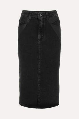 Givenchy Leather-paneled Denim Midi Skirt - Black