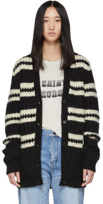 Saint Laurent Black Striped Oversized Cardigan