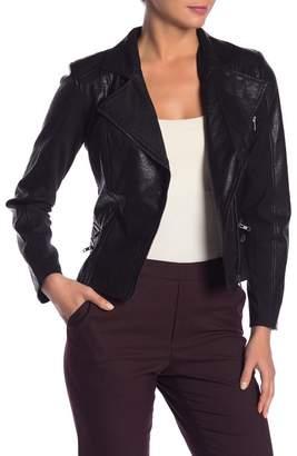 Gracia Double Zip Pocket Faux Leather Jacket