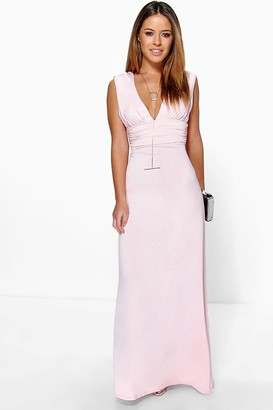 boohoo Petite Plunge Ruched Maxi Dress
