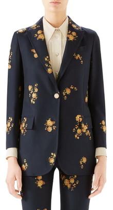 d34c577a6 Gucci Camellia Fil Coupe Cotton & Wool Jacket