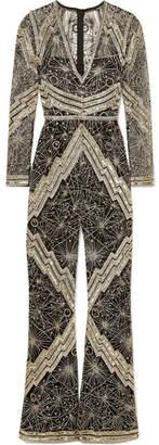 Naeem Khan Crystal-embellished Tulle Jumpsuit - Silver